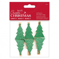 Glittered Wooden Pegs 6pcs - Christmas Tree (PMA 174950)