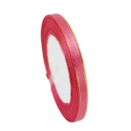 6mm Metallic-Edge Satin Ribbon - Watermelon Pink (25 yards)