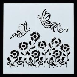 Medium Reusable Stencil - Flying Butterflies & Flowers (1pc)