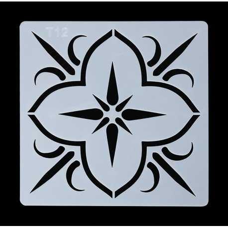 13 x 13cm Reusable Stencil - Flower Tile (1pc)
