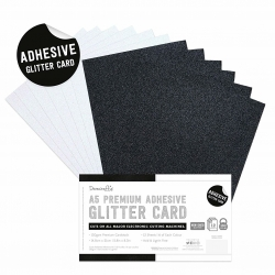 A5 Adhesive Glitter Sheets Black & White (DCGCD048)