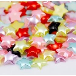 Flat-back Pearl Stars, solid - Multi (48pcs)