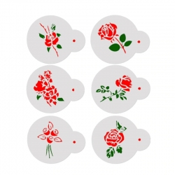 11cm Round Stencil Set - Roses (6pcs)