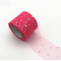 Tulle Ribbon Roll with Sequins - Bright Pink (5cm x 22m)