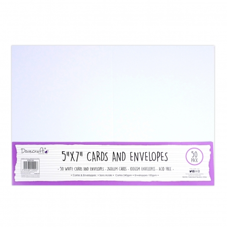 "Dovecraft Essentials Cards & Envelopes 50 pack 5 x 7"" - White"