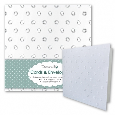 """Dovecraft 10 Daisy Embossed 6""""x6"""" Cards & Envelopes (DCCE020)"""