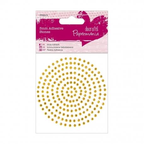 3mm Adhesive Stones (206pcs) - Gold (PMA 351619)