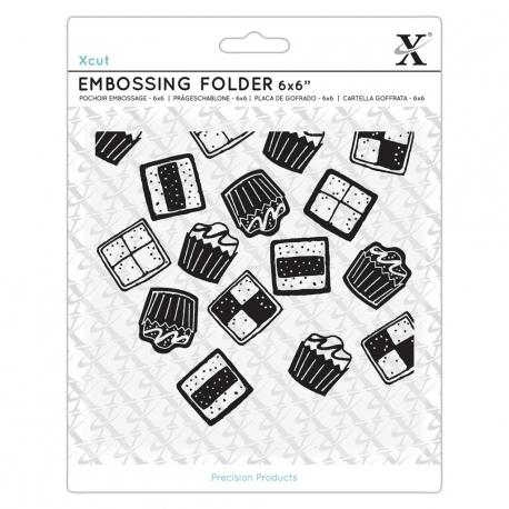 "6 x 6"" Xcut Embossing Folder - Mini Cakes (XCU 515240)"