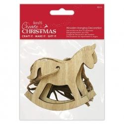 Wooden Hanging Decoration (4pcs) - Rocking Horse (PMA 174973)