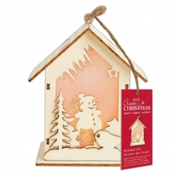Wooden LED Shadow-box House - Snowman (PMA 174954)