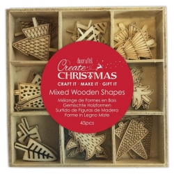 Wooden Shapes - Christmas Trees, 45pcs (PMA 359932)