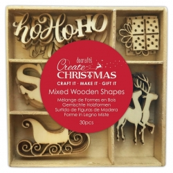 Wooden Shapes (30pcs) - Santa Claus (PMA 359936)