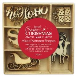 Wooden Shapes - Santa Claus, 30pcs (PMA 359936)