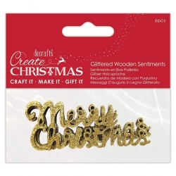 Wooden Glittered Merry Christmas, 6pcs (PMA 174979)