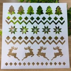 13 x 13cm Reusable Stencil - Christmas Fairisle (1pc)
