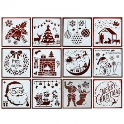 13 x 13cm Reusable Stencil Set - Christmas Assortment (12pcs)