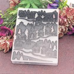 A6 Embossing folder - Snowy Village