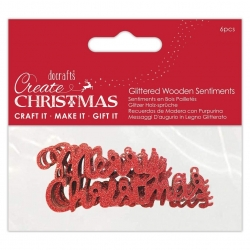 Wooden Glittered Merry Christmas Red, 6pcs (PMA 174978)