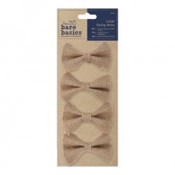 Large Burlap Bows 4pcs - Natural (PMA 174502)