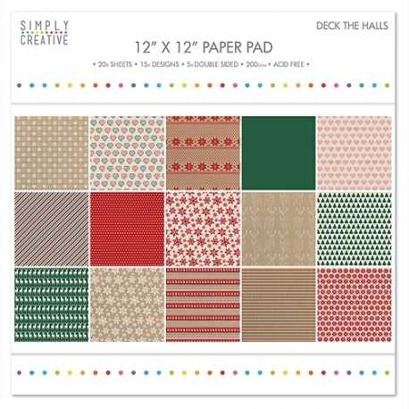 Simply Creative FSC Paper Pad 12x12 Deck The Halls (SCPAD033X16)