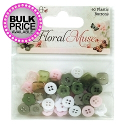 Dovecraft Floral Muse Plastic Buttons (DCBTN009)