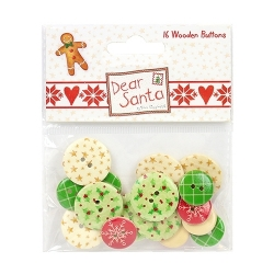 Dear Santa by Helz Cuppleditch Wooden Buttons (HCBTN002X16)
