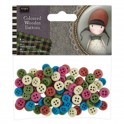 Coloured Wooden Buttons (100pcs) - Gorjuss Tweed (GOR 354304)