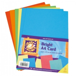 A4 Card (8pk, 250gsm) - Assorted Brights (CPT 6761104)
