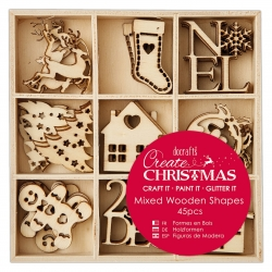 Small Mixed Wooden Shapes (45pcs) - Christmas Icons (PMA 105946)
