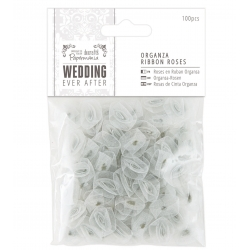 Organza Ribbon Roses (100pcs) - Wedding, Silver (PMA 158590)