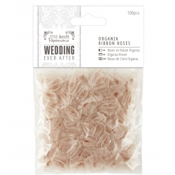 Organza Ribbon Roses (100pcs) - Wedding, Antique Gold (PMA 158591)