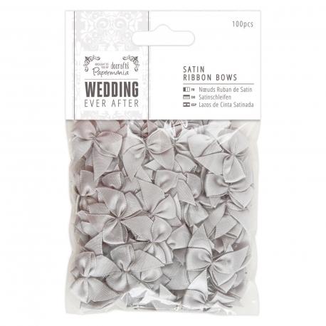 Satin Ribbon Bows (100pcs) - Wedding, Silver (PMA 158550)