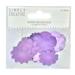SCFLW002 Simply Creative Paper Blossoms- Purple