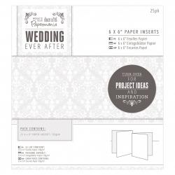 "6 x 6"" Paper Inserts (25pk) - Wedding Damask (PMA 158131)"