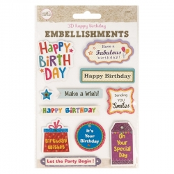 3D Embellishments - Happy Birthday Greetings (U-83161)