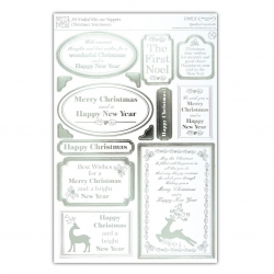 A4 Die-cut Toppers Foiled - Christmas Sentiments White & Silver (ANT 157116)