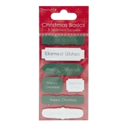 Dovecraft Christmas Basics Sentiment Toppers - Happy Christmas (DCTOP008X15)