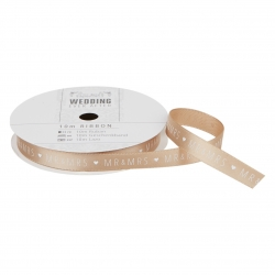 10m Printed Satin Ribbon - Wedding, Gold Mr & Mrs (PMA 158512)