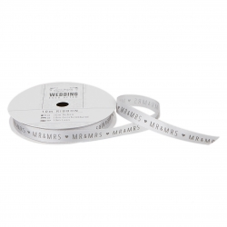 10m Printed Satin Ribbon - Wedding, Silver Mr & Mrs (PMA 158511)