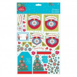 A4 Decoupage Pack Linen - Folk Christmas, Season's Greetings (PMA 169937)