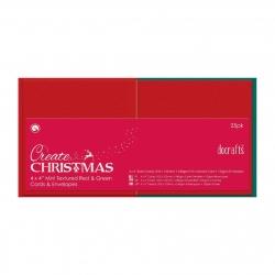 4 x 4'' Cards/Envelopes Textured (25pk, 240gsm) - Red & Green (PMA 151903)