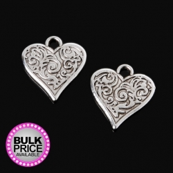 Metal Charms - Patterned Hearts (6)