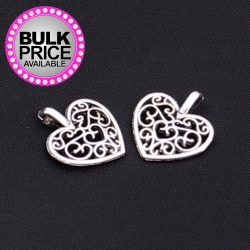 Metal Charms - Filigree Hearts (10)