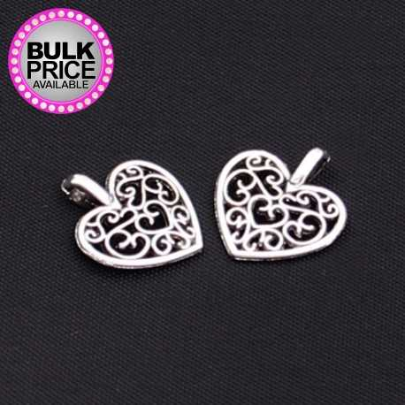 Metal Charms - Filigree Hearts (12)