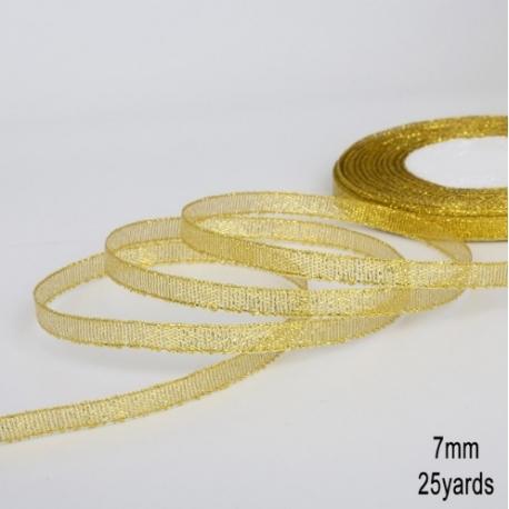 Metallic Ribbon - 7mm Gold (22.86 metres)