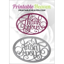 Printable Heaven die - Thank you Oval (1pc)