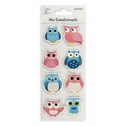Little Birdie Embellishments - Wise as an Owl Blue & Pink (CR42296)