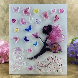 Clear Stamp set - Fairy with Butterflies (20pcs)