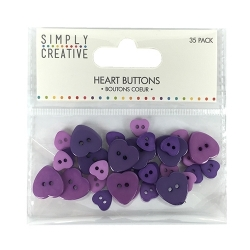 Simply Creative Plastic Heart Buttons - Purple (SCBTN004)