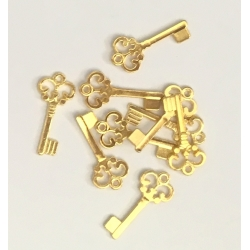 Metal Charms - Keys, Gold (16)